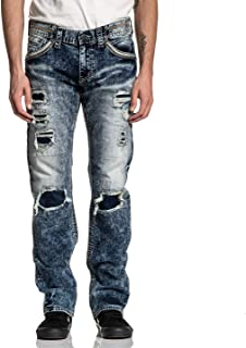 Affliction Men's Ripped Jeans, Ace Axis Rage Variant, Bleached Distressed Denim