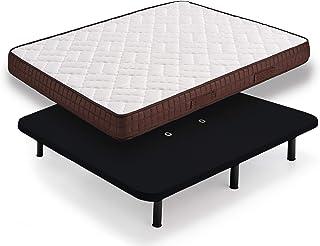 HOGAR24 ZR27- Colchón + Base tapizada Negra con Patas, Medida 135x190 cm. Núcleo Alta Densidad Transpirable con Tejido 3D y Aloe Vera.
