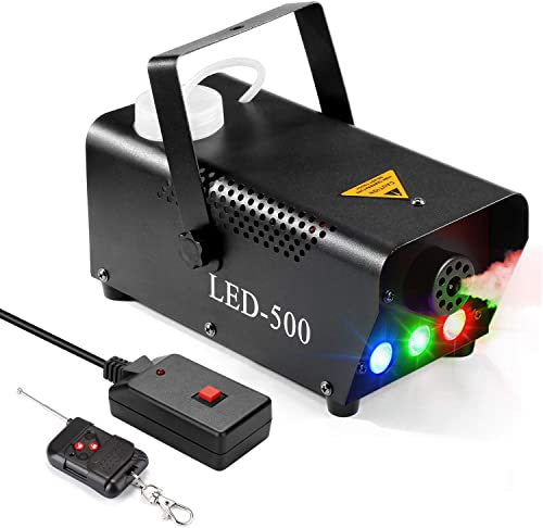 Fog Machine, AGPTEK 500W Portable Led Smoke Machine with Lights (Red, Blue, Green) & Wireless Remote Control for Hall...