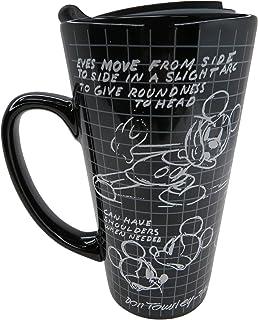 كوب سفر خزفي أسود برسمة ميكي ماوس ميكي ماوس كوب قهوة ديزني، 7.5 بوصة