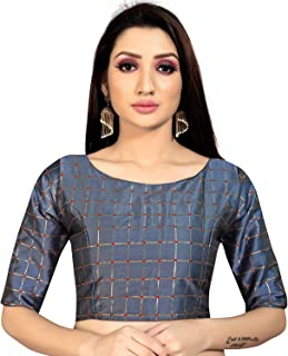 Ocean Fashion Women's Satin Silk Readymade Saree's Blouse
