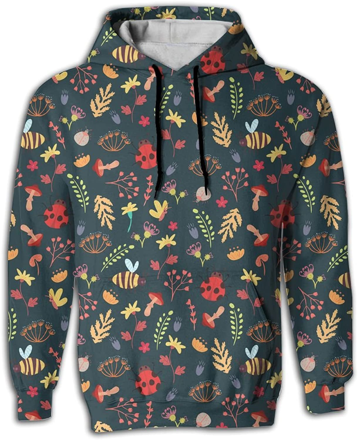 Wkylt Cute Forest and Bee Baby Funny Big Pockets Hoodie Creepypasta Hoodies for Men