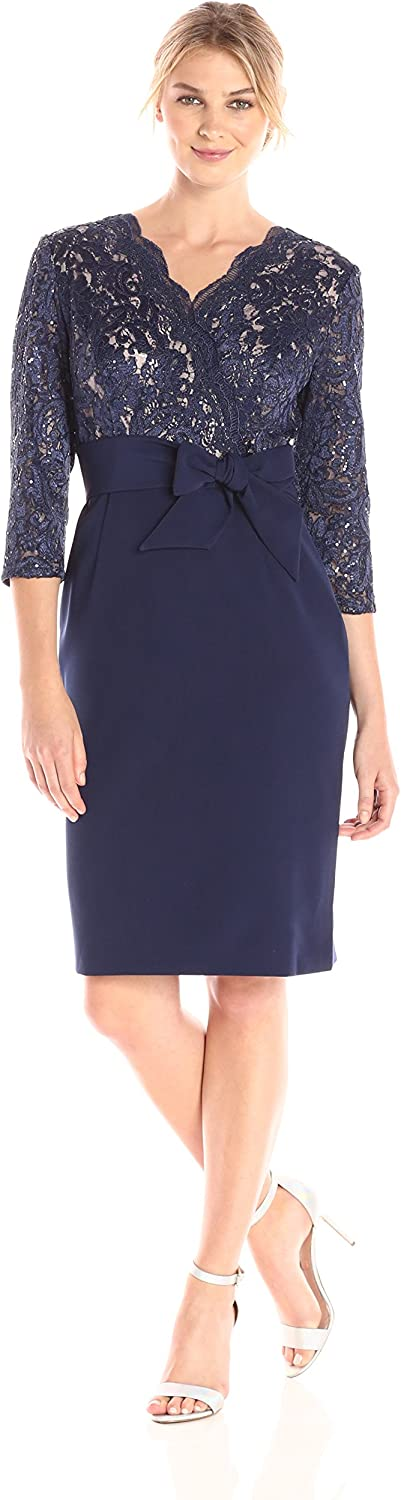 Alex Evenings Women's Lace Cocktail Dress with Knot Front Waist (Petite and Regular Sizes)