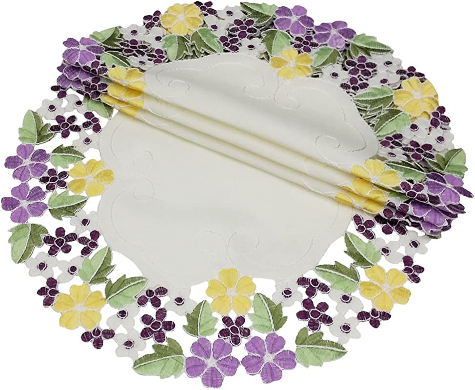 Xia Home Fashions Fancy Flowers Embroidered Cutwork Round Spring Doilies 12 Inch Purple Set Of 4