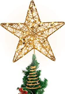 Lemonfilter Christmas Tree Topper Star, Glittered Star Tree Topper Xmas Tree Decoration Holiday Seasonal Décor 12 inch (Gold)