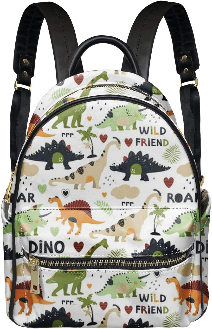 JEOCODY Cartoon Dinosaur Women Backpack Casual Small PU Leather Waterproof Rucksack Fashion Shoulder Bags for Girls Ladies Men