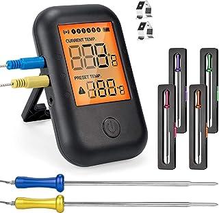 Thermomètre à Viande numérique, MUSCCCM thermomètre de cuisson Barbeque sans fil Bluetooth 5.0 avec 6 sondes, LCD Écran po...
