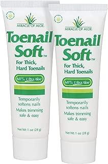 Miracle of Aloe Toenail Soft 1 Oz - 2 Pack Temporary Nail Softening Cream with 60% Ultra Aloe