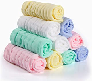 Baby Muslin Washcloths(12x12 inches,10 Pack)-100% Natural Premium Cotton- Soft Newborn Baby Face Towel for Sensitive Skin- Baby Registry as Shower Gift.