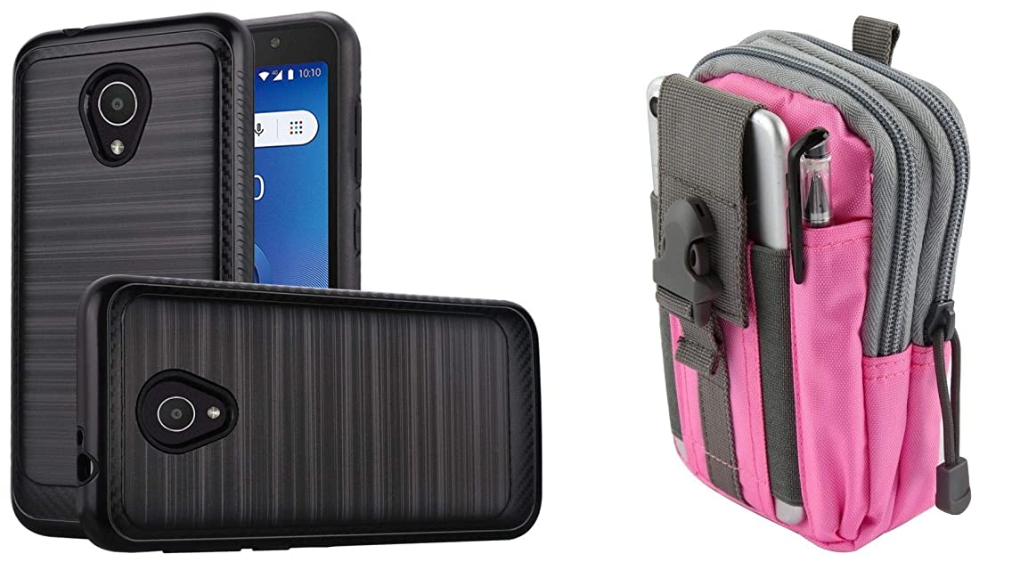 Bemz Accessory Bundle for Alcatel idealXTRA - Brushed Carbon Fiber Edge Slim Case (Black), Tactical Pouch (Pink/Gray) and Atom Cloth for Alcatel idealXTRA