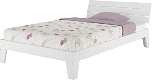 Einzelbett mit Rollrost 120×200 Massivholz Kiefer Bettgestell Futon Bett Holzbett Weiß 60.54-12 W
