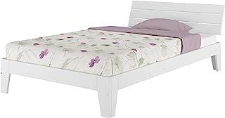 Erst-Holz Lit Simple en pin Massif Blanc 120x200 tête de lit à Larges Lattes Horizontales, sommier 60.54-12W