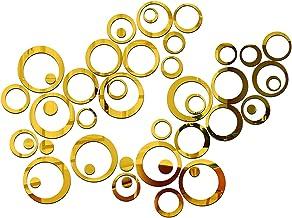 Wall1ders - 40 Rings Golden 3D Acrylic Sticker, 3D Acrylic Stickers for Wall, 3D Mirror Wall Stickers, 3D Wall Décor Items...
