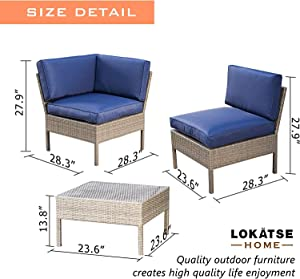LOKATSE HOME 6 Pieces All-Weather Rattan Patio Sectional Sofa Set Wicker Outdoor Furniture with 3 Pillows Coffee Table, Blue