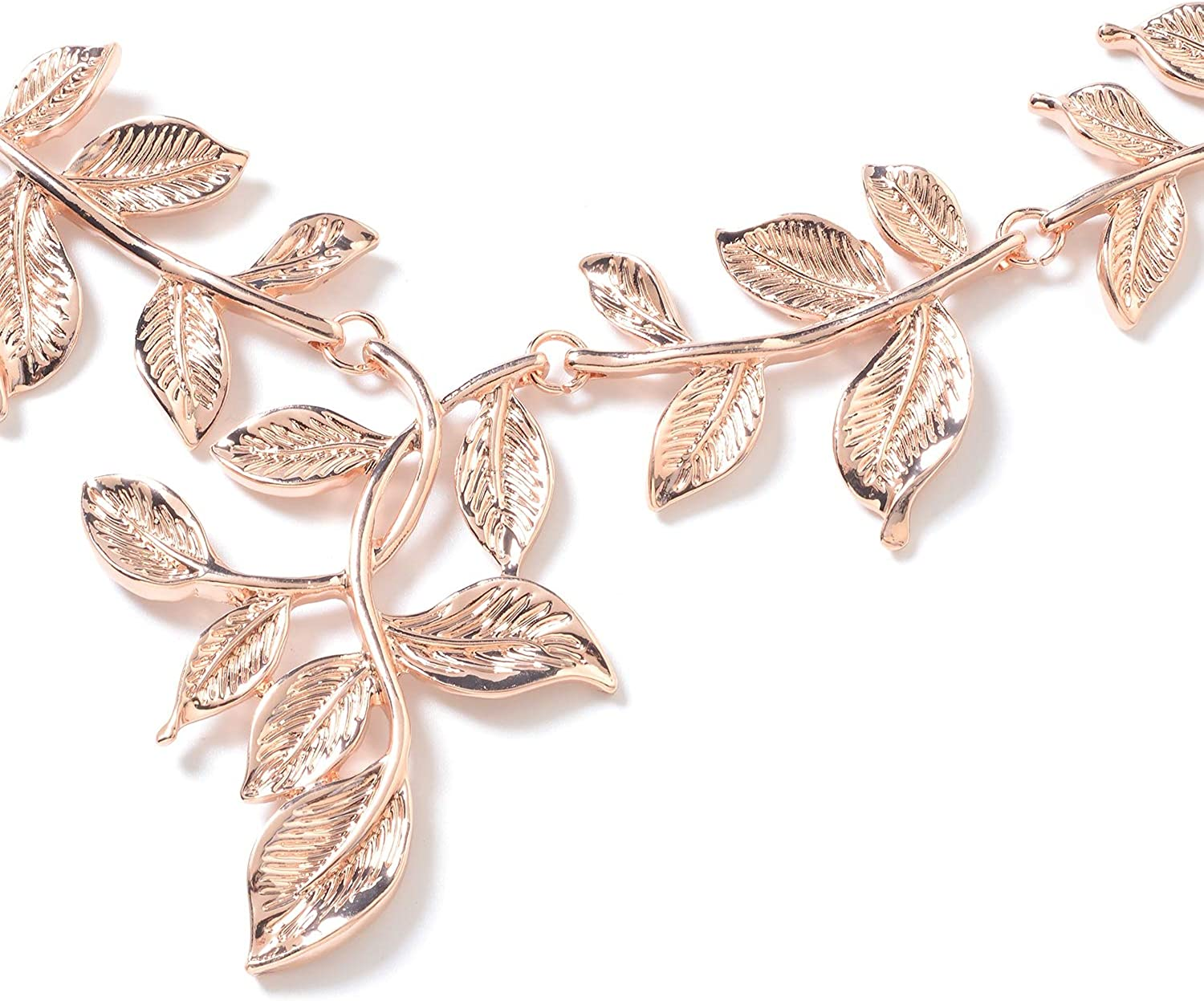 Shop LC ION Plated Yellow Rose Gold Stainless Steel Leaf Earrings Necklace for Women Fashion Costume Jewelry Gifts Set 22