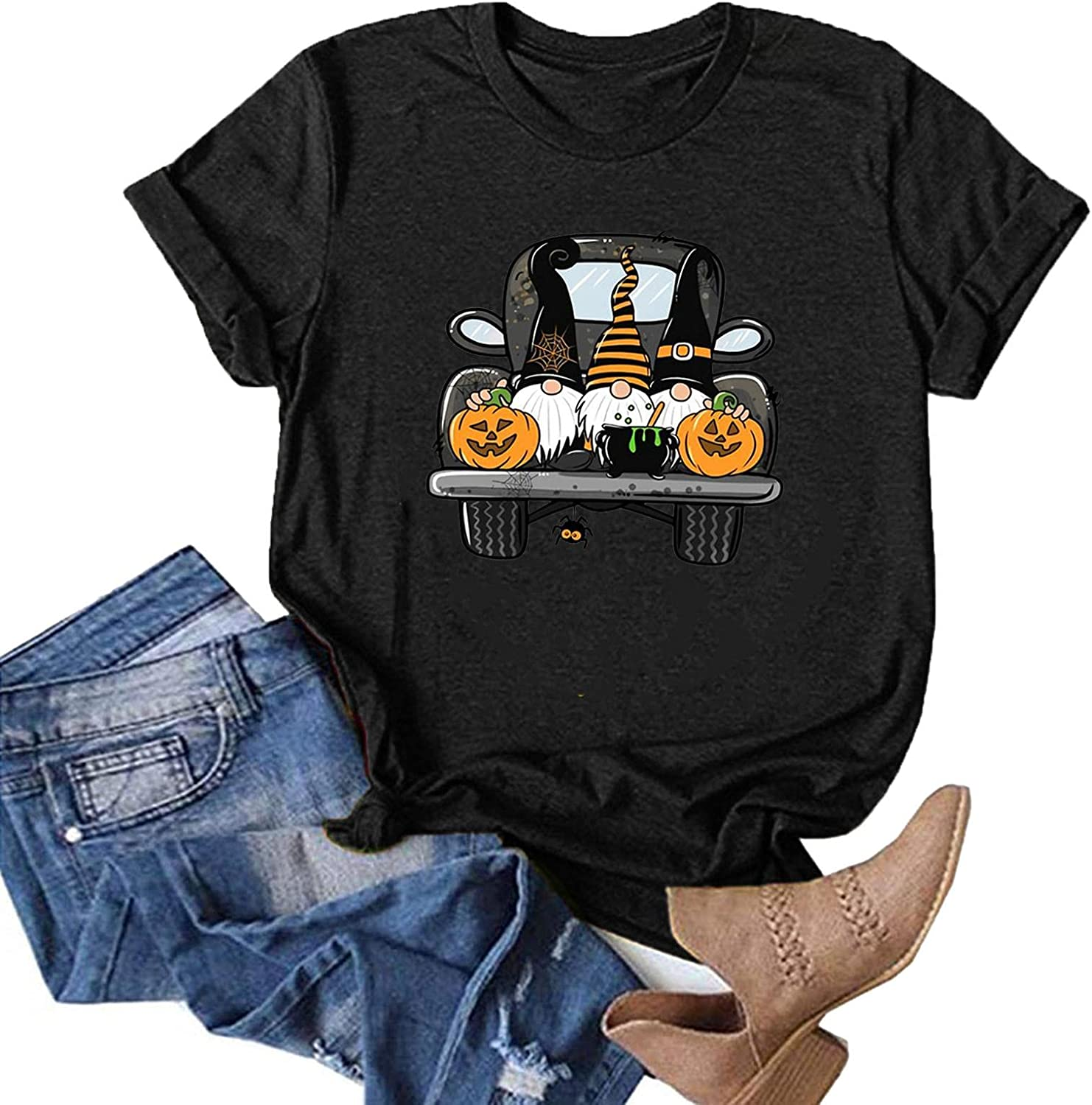 AODONG Womens Tops for Halloween Short Sleeves Gnomes Graphic T-Shirts Tee Tops Pullover Blouse Halloween