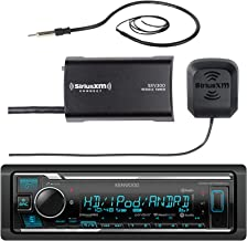 Kenwood Marine Boat Yacht Bluetooth USB AUX Audio Stereo Receiver Bundle Combo with SiriusXM SXV300v1 Satellite Radio Tuner Kit, Enrock 22