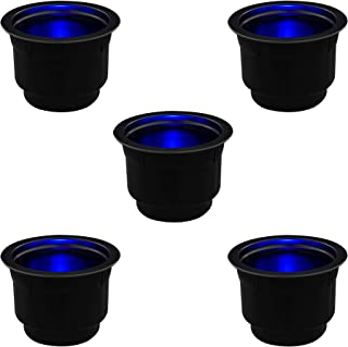RecPro 5pk | Stainless Steel Trim Cup Holder w/Blue LED Lights | Boat Cup Holder| Marine Drink Holder | RV (Camper) Cup Holder | Lighted Cup Holders