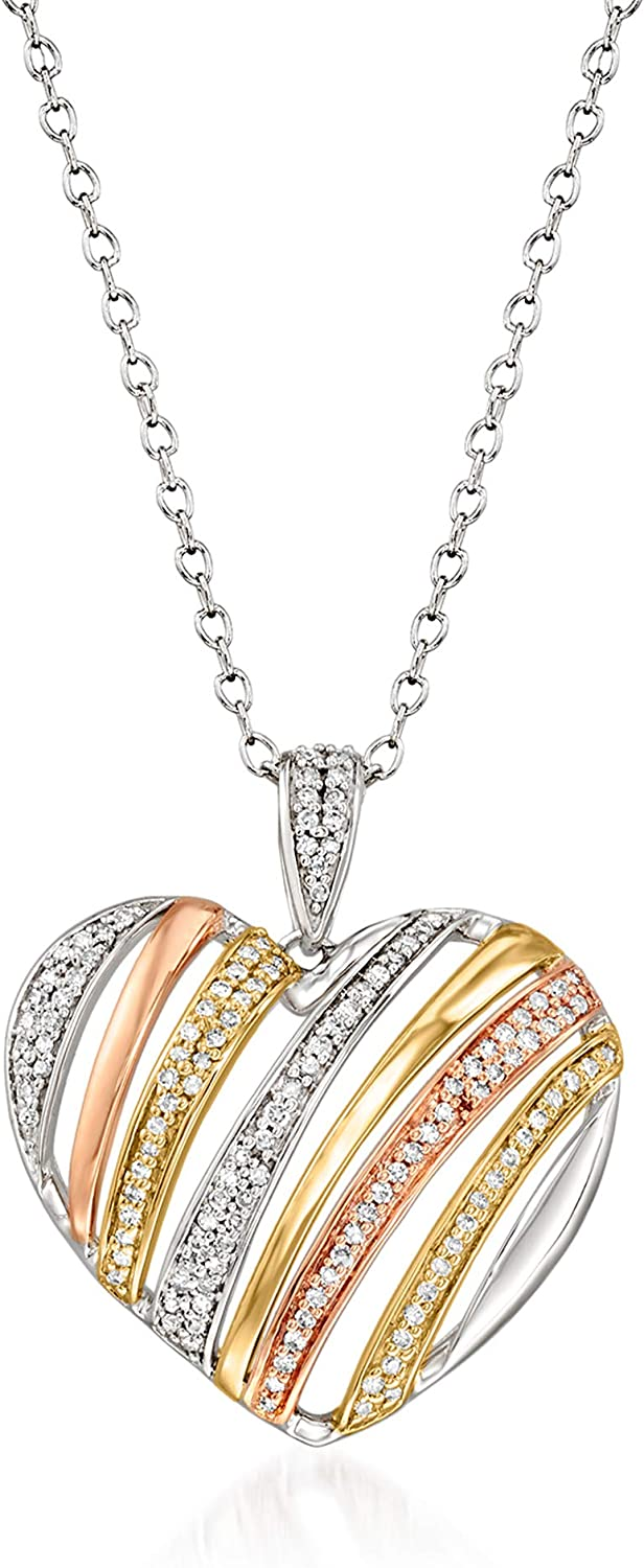 Ross-Simons 0.25 Purchase ct. t.w. Diamond Pendant Choice Heart in 14kt Necklace