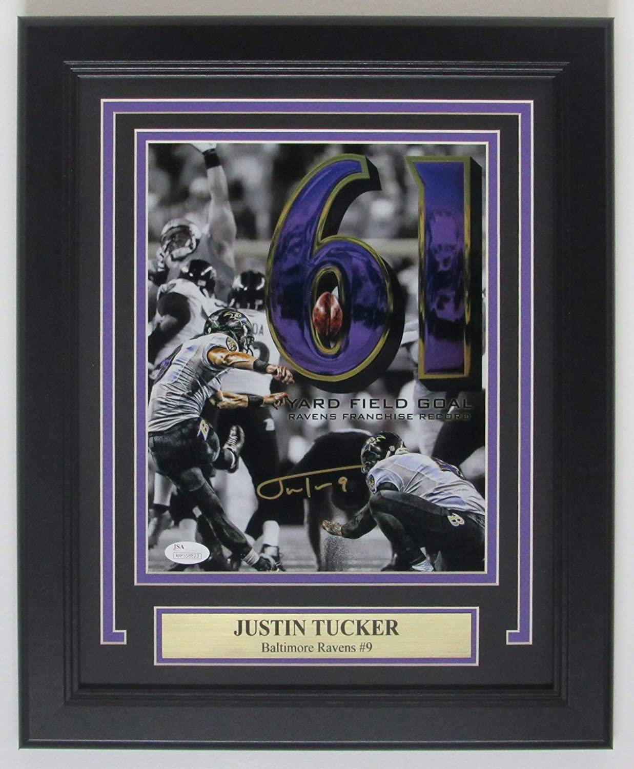 Justin Tucker Baltimore Signed Autographed JSA Framed Photo It is very popular Very popular 8x10