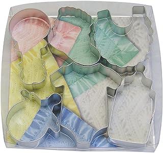 R&M International 1945 - Juego de cortadores de galletas para baby shower, varios diseños, juego de 10 piezas, Bebé, Plateado, 1, 1