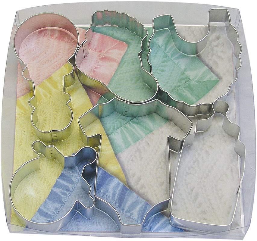 R M International 1812 Baby Shower And Party Cookie Cutters Bodysuit Bottle Pacifier Bootie Bib Rattle 6 Piece Set
