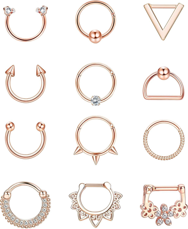 BodyBonita 12pcs 16G Stainless Steel Septum Rings CZ Cartilage Earrings Hoop Horseshoe Helix Tragus Daith Earrings Hinged Clicker Segment Septum Piercing Jewelry for Women Men