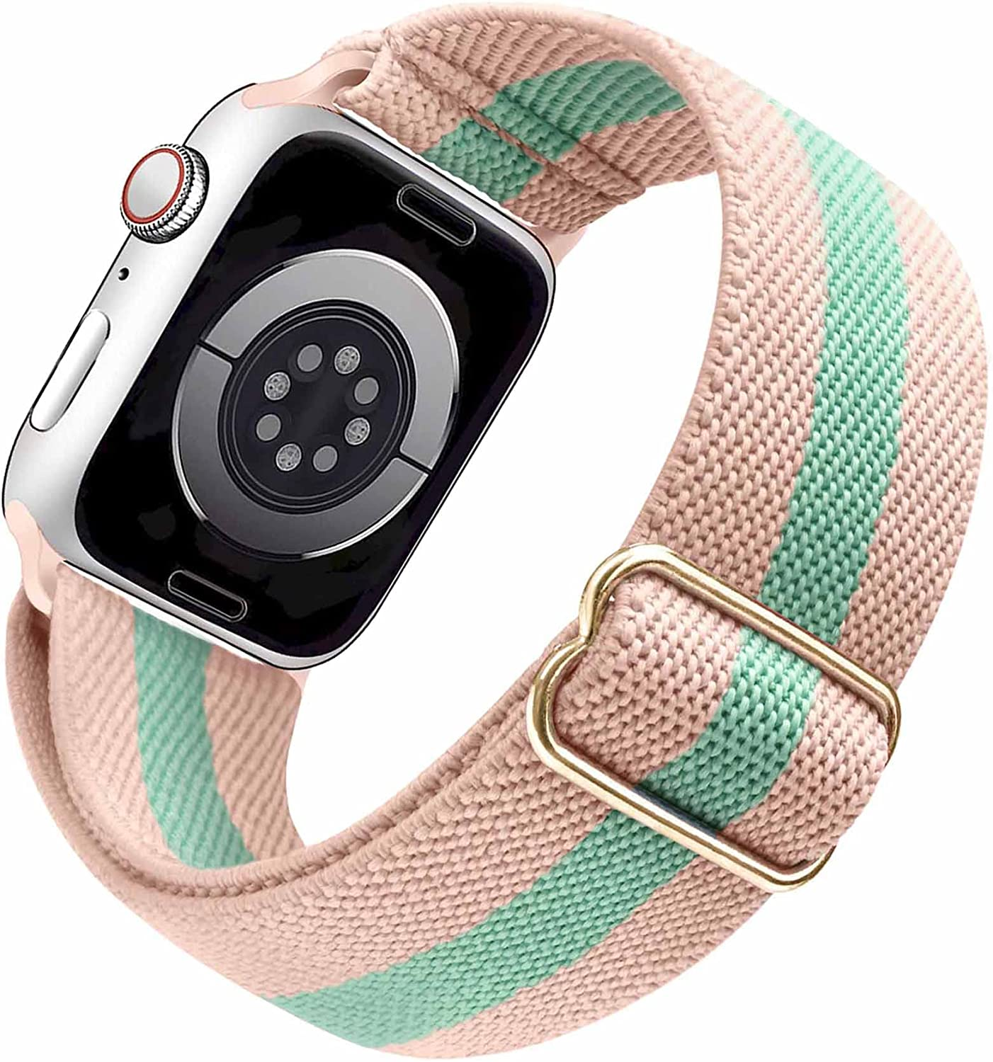 Arae Stretchy Watch Band Compatible for Apple Watch Band 45mm 44mm 42mm Comfortable Adjustable Sport Band for iWatch Series 7 6 5 4 SE 3 2 1 Women Men - Pink