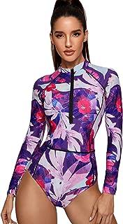 SheIn Women's Floral Print Long Sleeve Swimsuit Zipper Front One Piece Swimwear