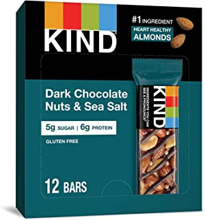 KIND Bars, Dark Chocolate Nuts & Sea Salt, Gluten Free, Low Sugar, 1.4 Ounce, 12 Count