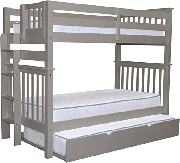 Bedz King Tall Bunk Beds Twin Over Twin Mission Style With End Ladder And A Twin Trundle Gray