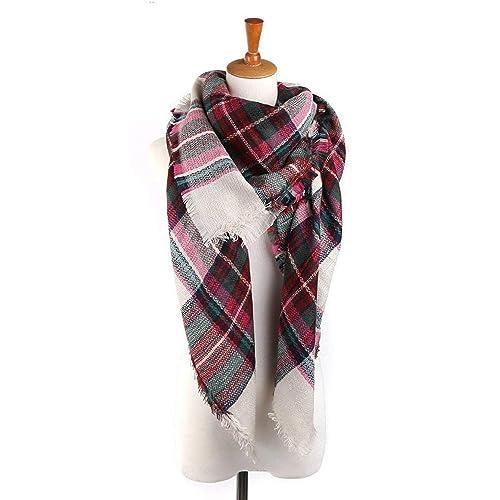 621125ff0f Yanekop Womens Plaid Blanket Scarf Big Square Scarves Warm Tartan Checked  Shawl