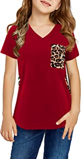 Acelitt Big Girl Summer Casual Fashion 2021 Comfy Short Sleeve V Neck Leopard Print Blouses Shirts T-Shirts Tunic Tops Tee...