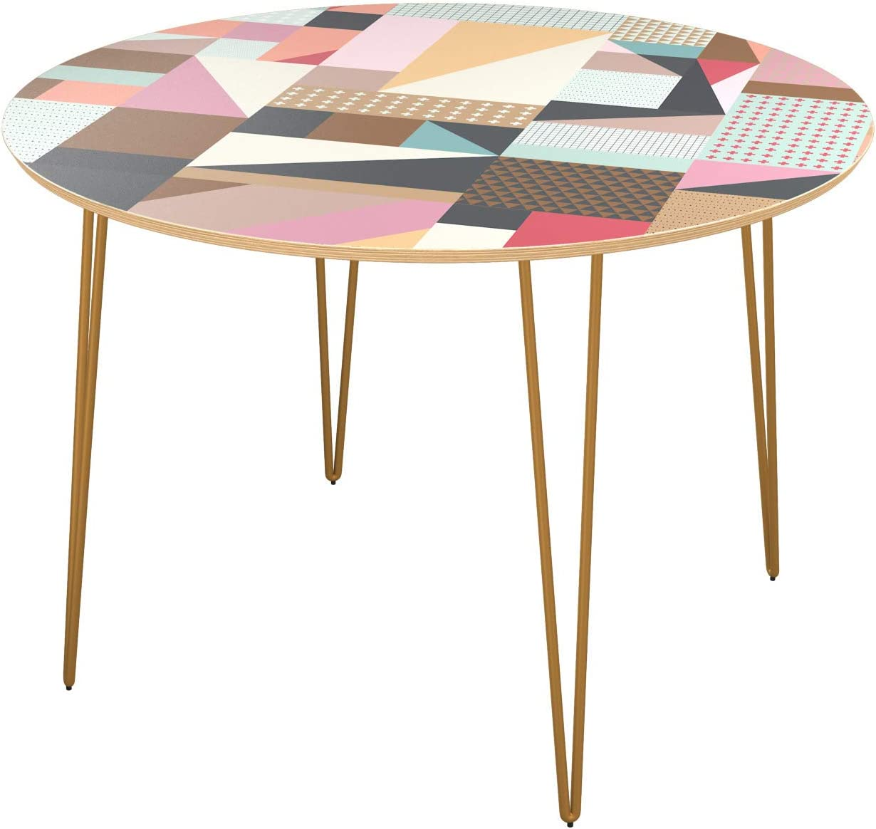 Poppy Round Dining Table - Modern Ranking TOP14 Max 81% OFF Brass Patchwork Hairpi Surface