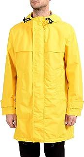 معطف Hugo Boss Urain بقلنسوة وسحاب كامل أصفر للرجال US S IT 48
