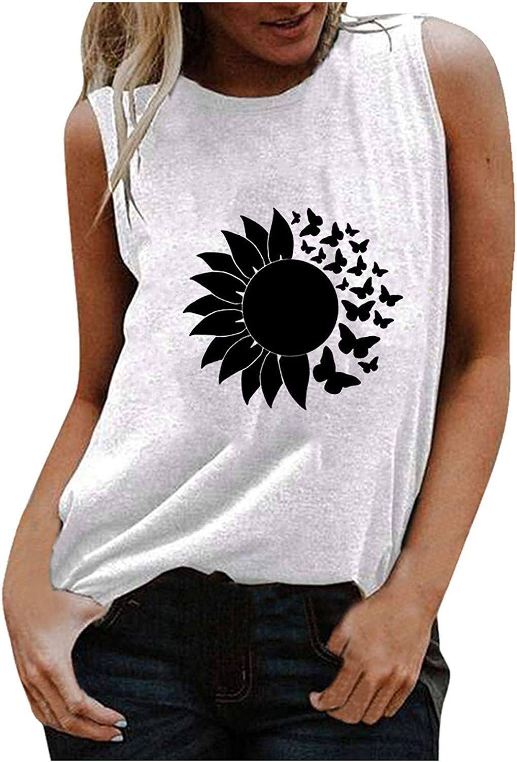 AODONG Tank Tops for Women, Womens Summer Casual Fashion Printed Sleeveless Loose Fit Vest Tshirt Tunic Tee Blouse Tops