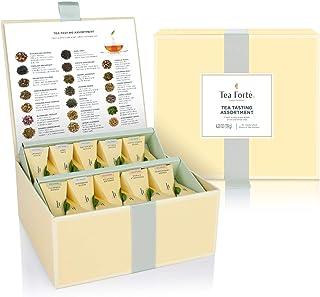 Tea Forte Organic Assorted Variety Tea Sampler, Tea Tasting Tea Chest Gift Box with 40 Handcrafted Pyramid Tea Infuser Bags, Black Tea, Herbal Tea, Oolong Tea, Green Tea, White Tea
