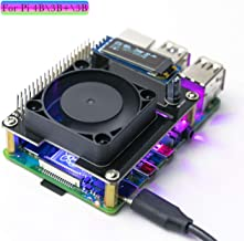Yahboom Raspberry Pi 4B 3B+ 3B Cooling Fan Hat with Intelligent Temperature Control and Programmable RGB Light, I2C OLED Real-time Display