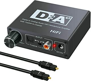 T Tersely 192kHz DAC Digital to Analog Converter with Volume Control, Digital Coaxial Stereo L/R RCA 3.5mm Audio Adapter ...