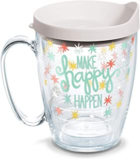 Tervis Everything-Happy Happen Insulated Tumbler with Wrap and White Lid, 16oz Mug, Clear