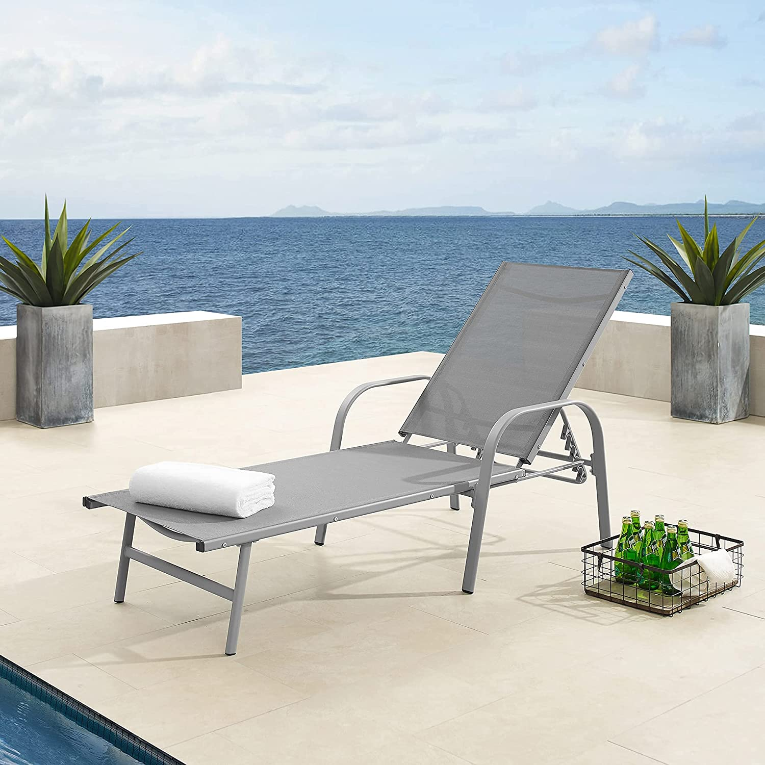 Breathable Chaise Max 82% OFF Lounge Award Chairs for Modern Ou Outside Textilene