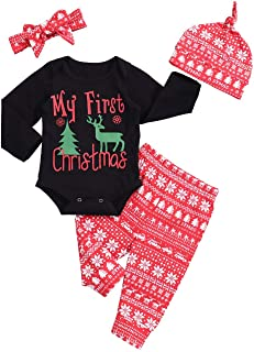 Christmas Baby Girl Outfit My First Christmas Bodysuit Romper Pajamas Pants