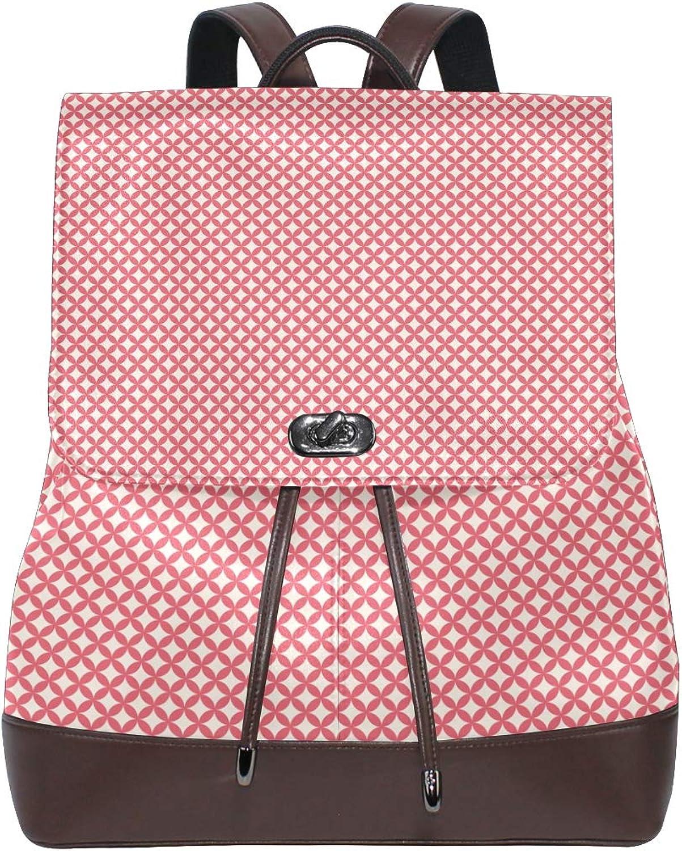 DEZIRO Leather Square Shape Pattern School Pack Backpacks Travel Bag