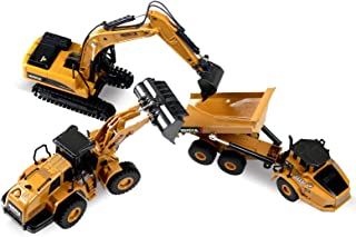 HuiNa Construction Toys, Pack of 3, Construction Vehicle Models Including Wheel Loader, Excavator and Dump Truck, Toy Truc...