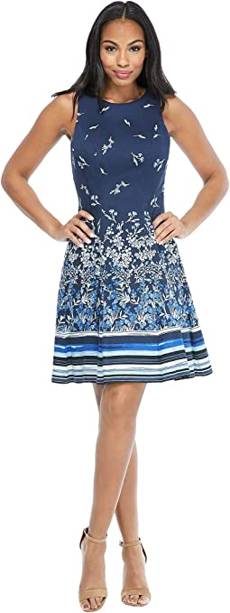 Floral Stripe Cotton Fit-and-Flare Dress