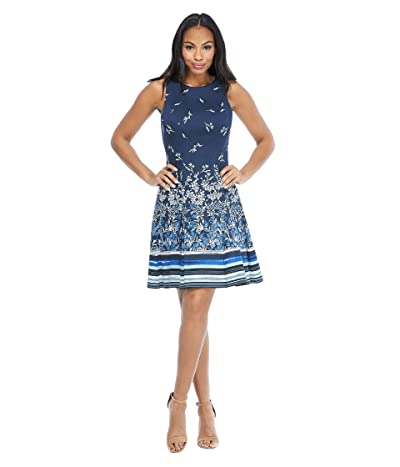 Maggy London Floral Stripe Cotton Fit-and-Flare Dress (Navy/Blue) Women