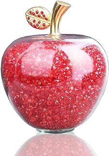 H&D - Figura decorativa de manzana tallada con hoja de aleación piedra curativa decoración para el hogar para dí...