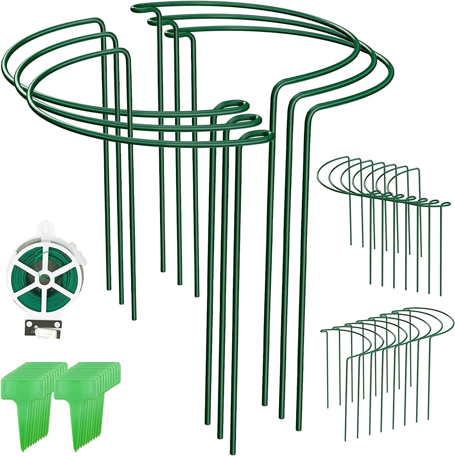 BLIKA 20 Pack Plant Support Stakes, Metal Garden Plant Stake, Outdoor Tall Plant Support Ring Cage, Half Round Plant Support Rings, Plant Supports for Outdoor Plants(10