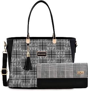 Bellissa Black PU Leather Combo Handbag for Women
