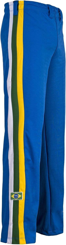 Authentic Brazilian Capoeira Martial Arts Pants  Unisex (blueee Brazil National colors on greenical Leg Stripes)
